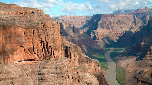Aerial view of the Colorado River flowing through the Grand Canyon