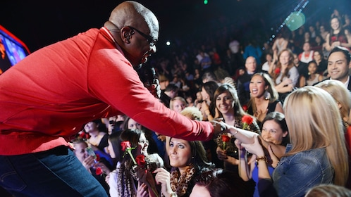 Boyz to Men interacting with the audience during a live performance at the Mirage Resort and Casino, Las Vegas