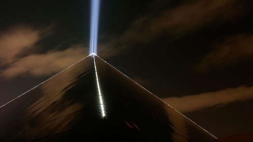 Light beams atop the pyramid at the Luxor Hotel and Casino in Las Vegas