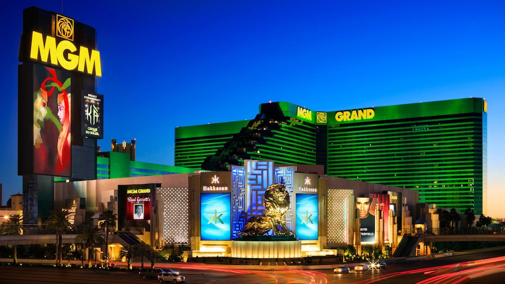 Show item 3 of 4. MGM Grand Las Vegas exterior view at sunset