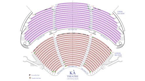 Seating chart of the KA theatre at the MGM Grand, Las Vegas