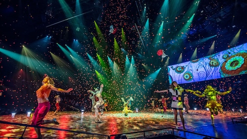 High energized scene of performance The Beatles® LOVE by Cirque du Soleil® in Las Vegas