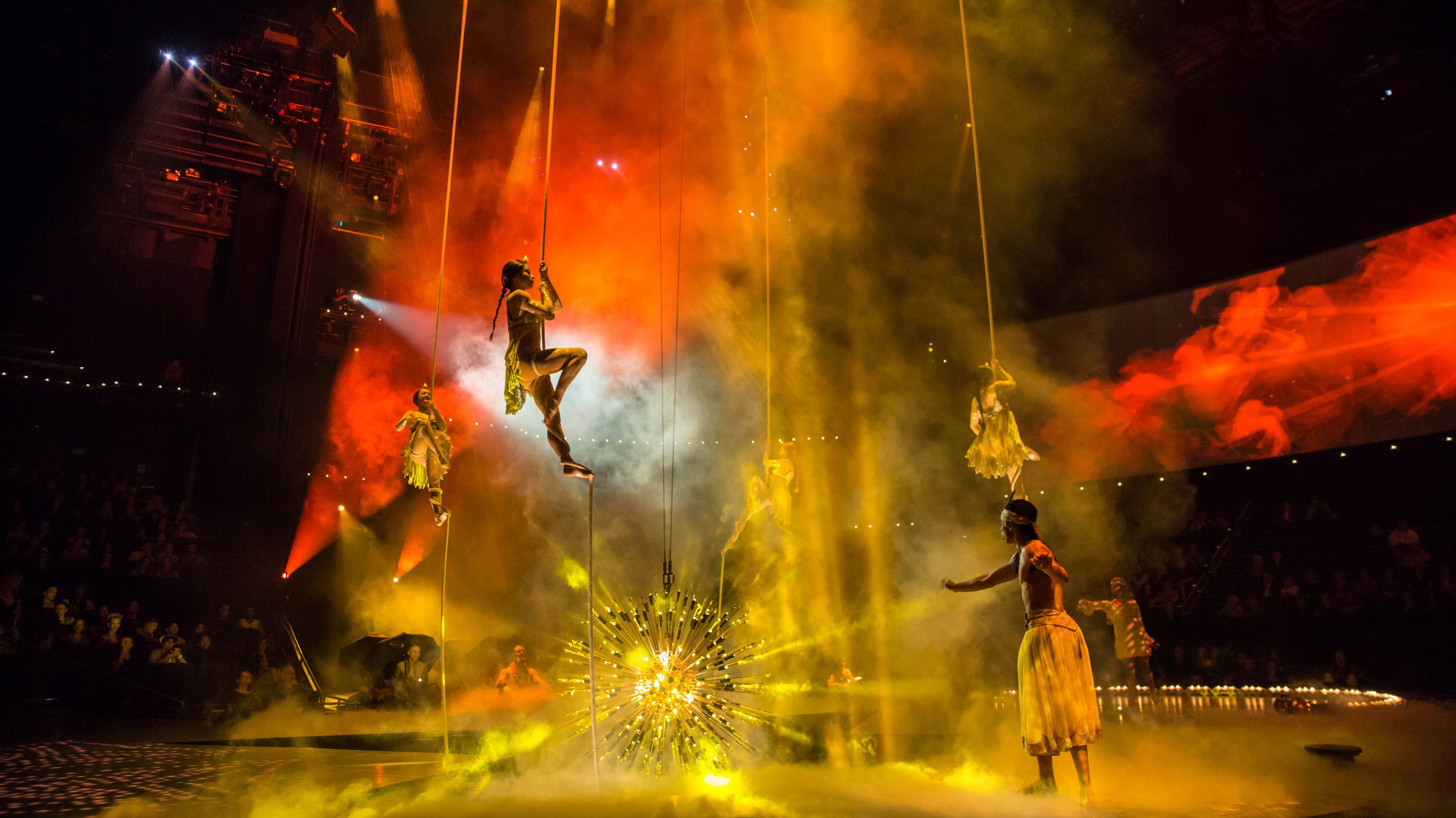 Performers rise into the air during The Beatles® LOVE by Cirque du Soleil® in Las Vegas