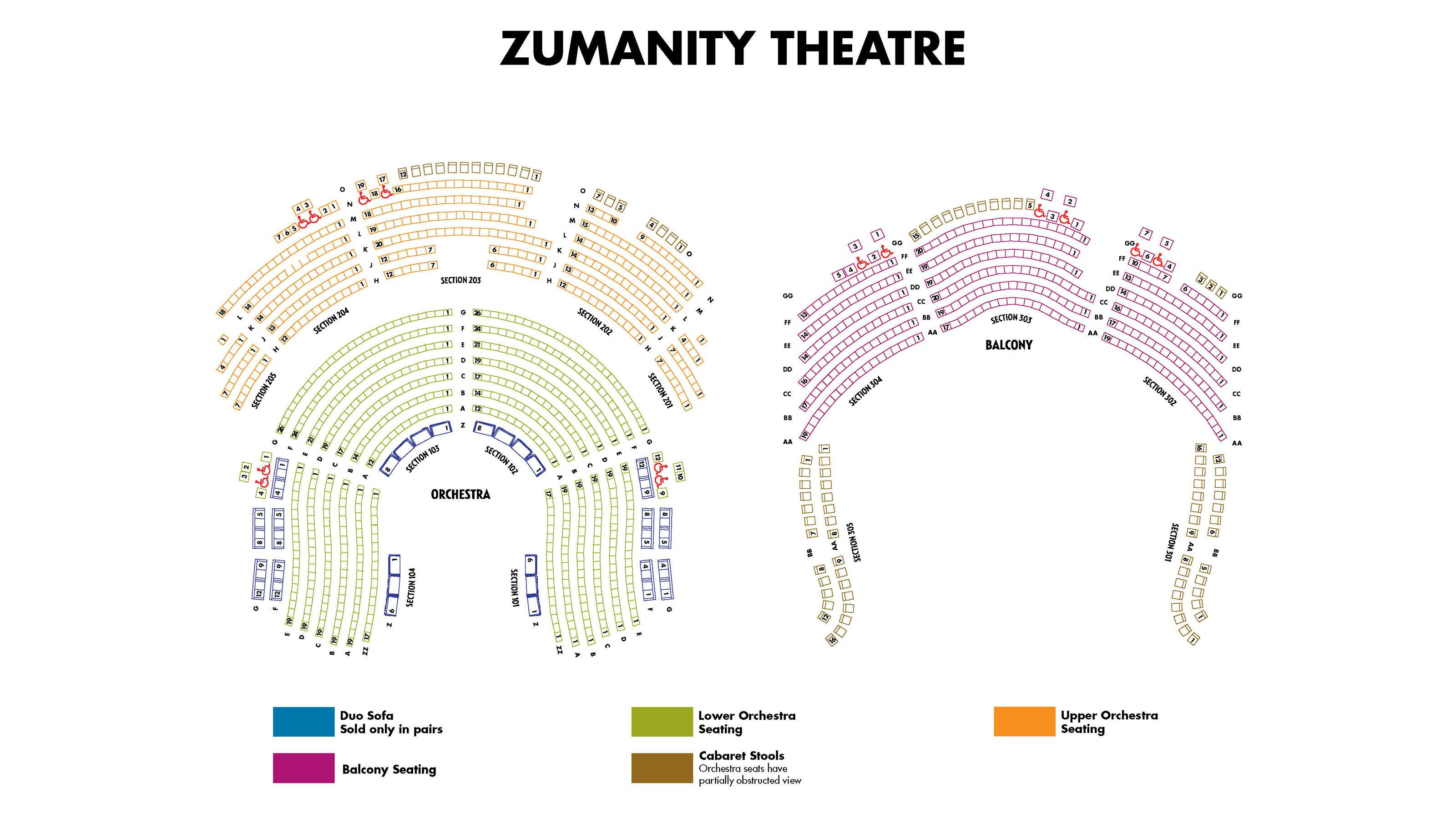 Seating chart for Zumanity by Cirque du Soleil show in Las Vegas
