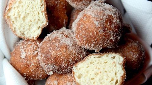 Beignets coated in sugar