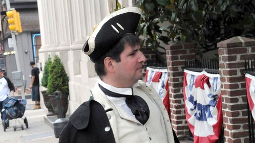 Man dressed in colonial costume in Philadelphia