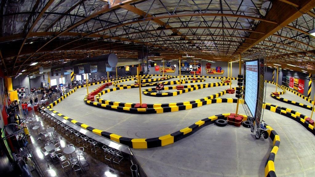 Wide angle view of the Indoor Go Karts raceway in Las Vegas Nevada