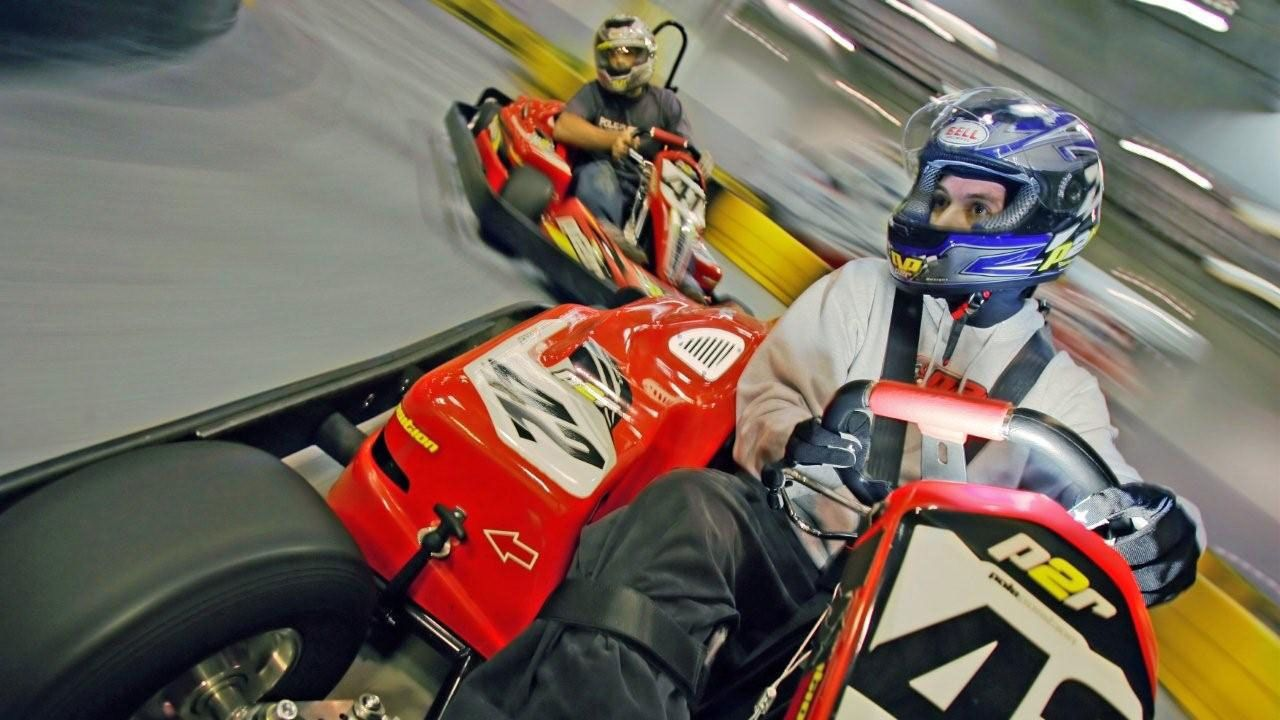 Two Go Karts driving on the raceway in Las Vegas Nevada