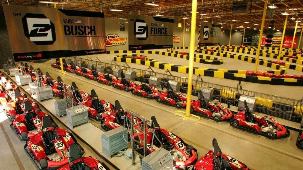 Landscape view of the Go Kart Raceway facility in Las Vegas Nevada
