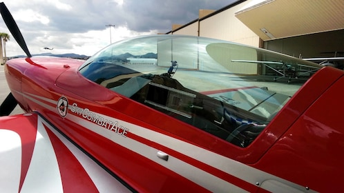 Close up of red airplane in Las Vegas