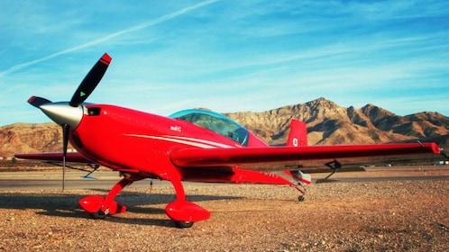 Red airplane outdoors in Las Vegas