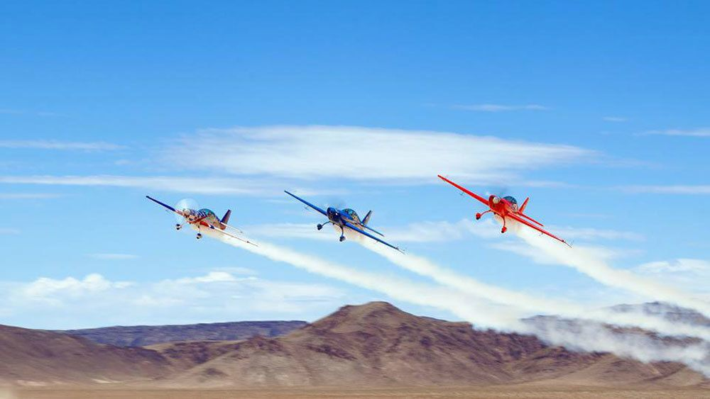 View of three Sky Combat Ace airplanes in the sky in Las Vegas