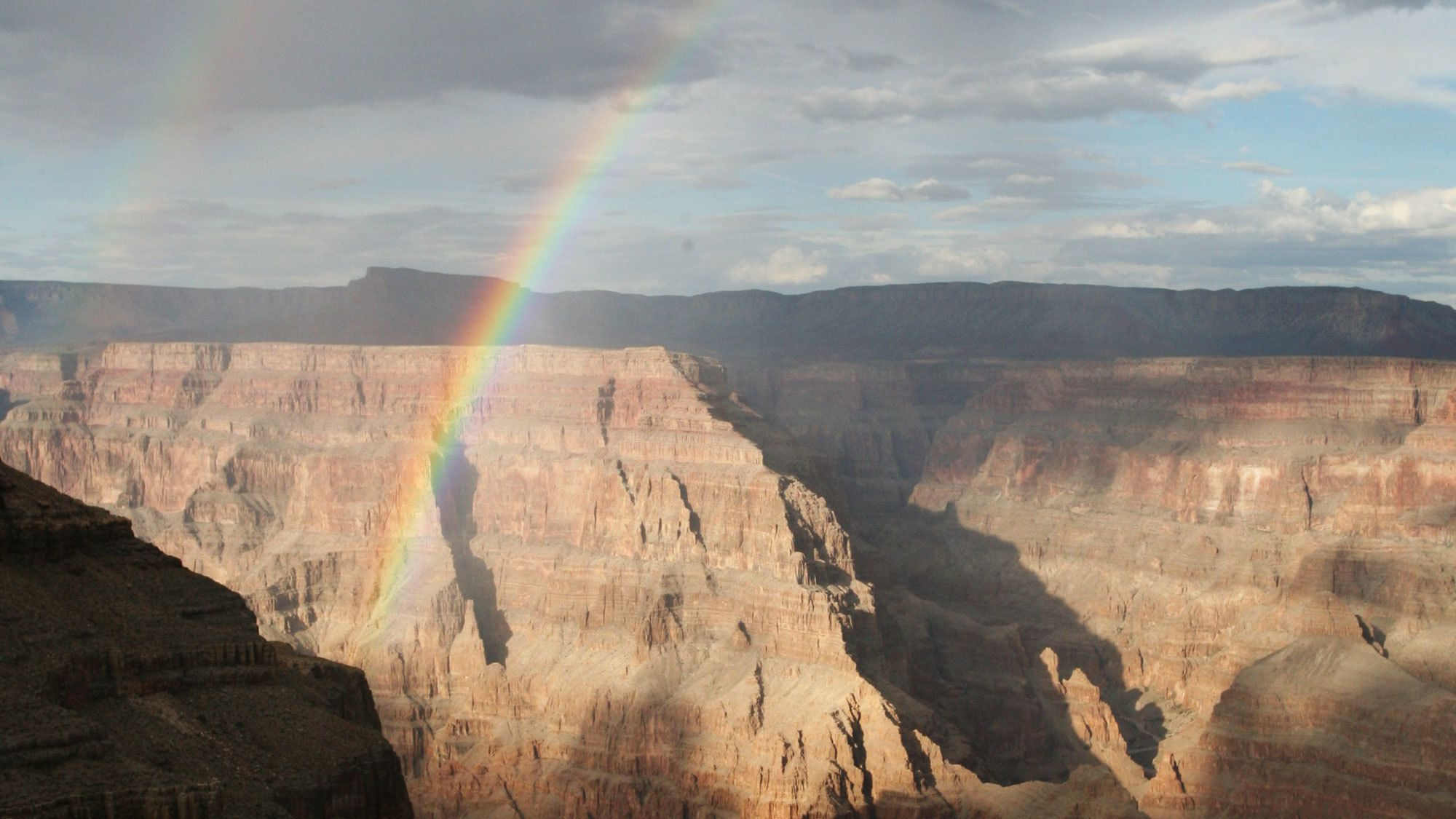 View of the Grand Canyon with a rainbow visible in Arizona