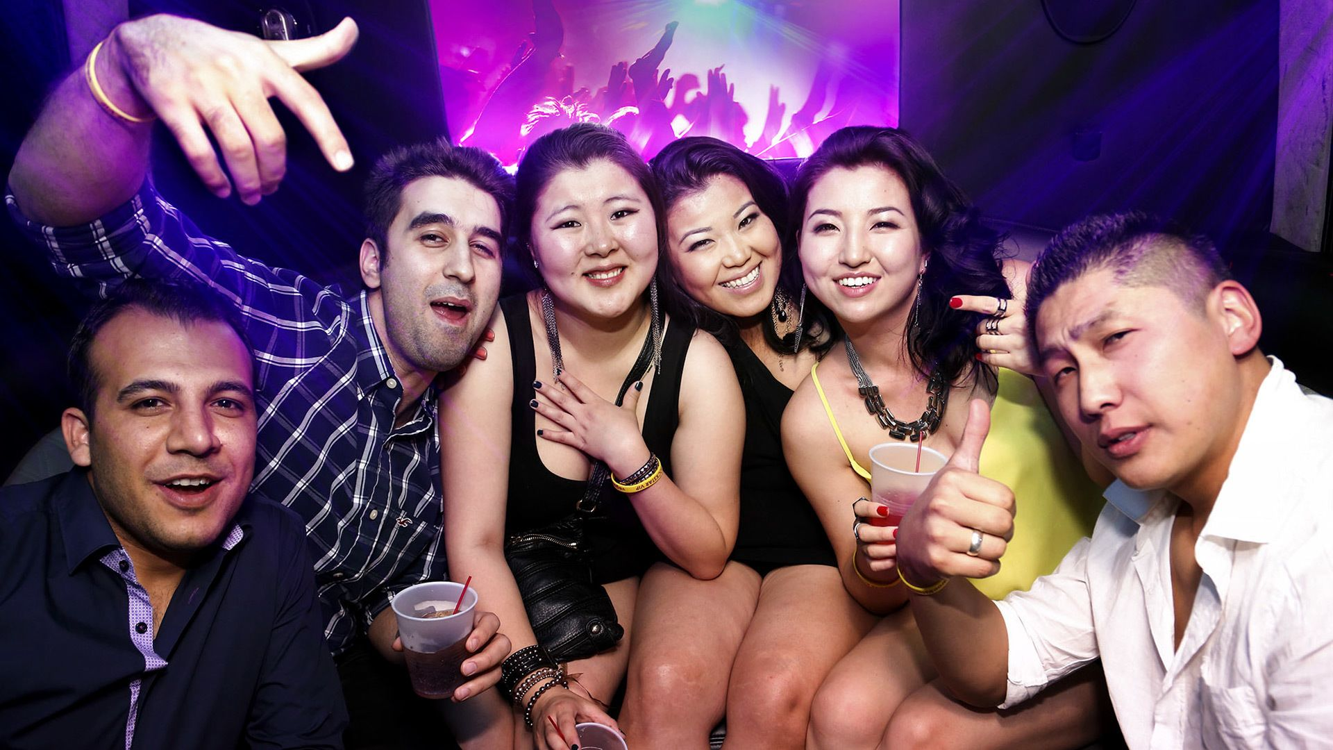 Close up image of a group having fun inside a club in Las Vegas
