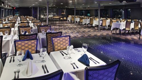 Dining tables on cruise boat in New York