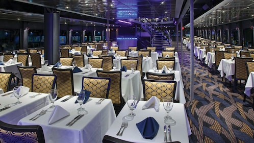 Dining area on dinner cruise in New York