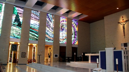 Stunning display of the world's largest stained-glass windows depicting the Biblical story of creation at St. Monica's Cathedral in Cairns