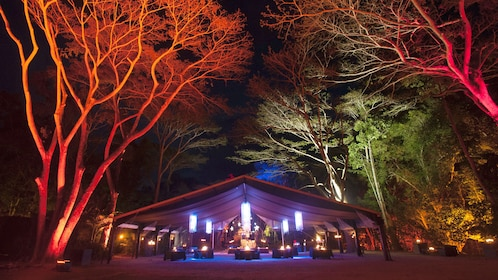 Stunning tent and seating and dining area at the Aboriginal Cultural Experience in Australia