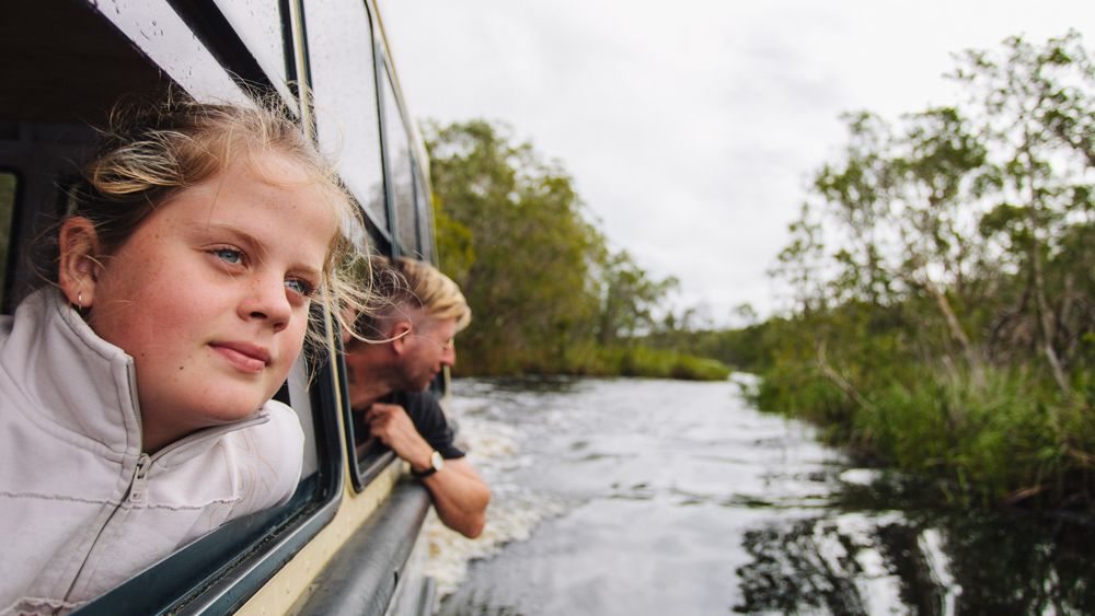 Kids enjoying the Noosa Everglades Wilderness Cruise on the Sunshine Coast