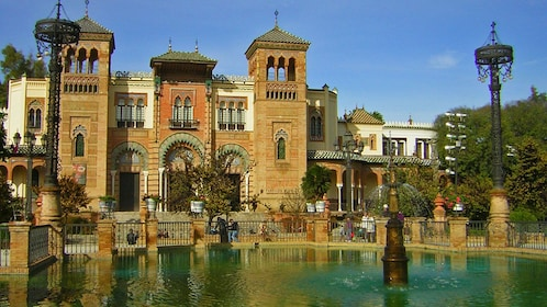 Museum of Arts and Traditions of Sevilla and pond with fountain in Seville
