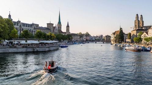 River through city in zurich