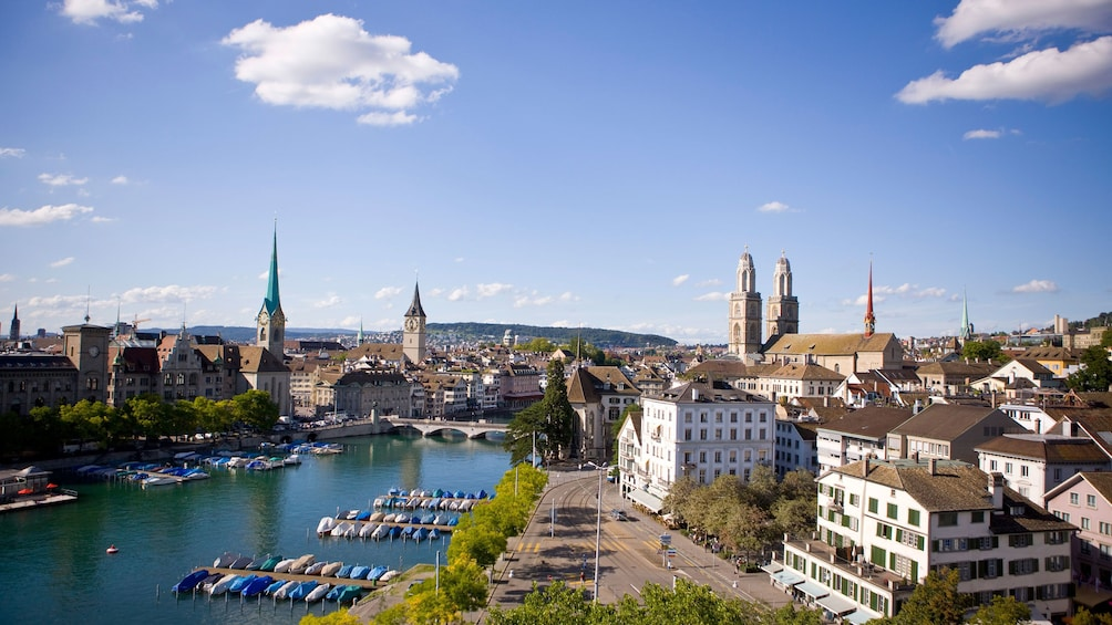 Show item 3 of 8. aerial view of city in zurich