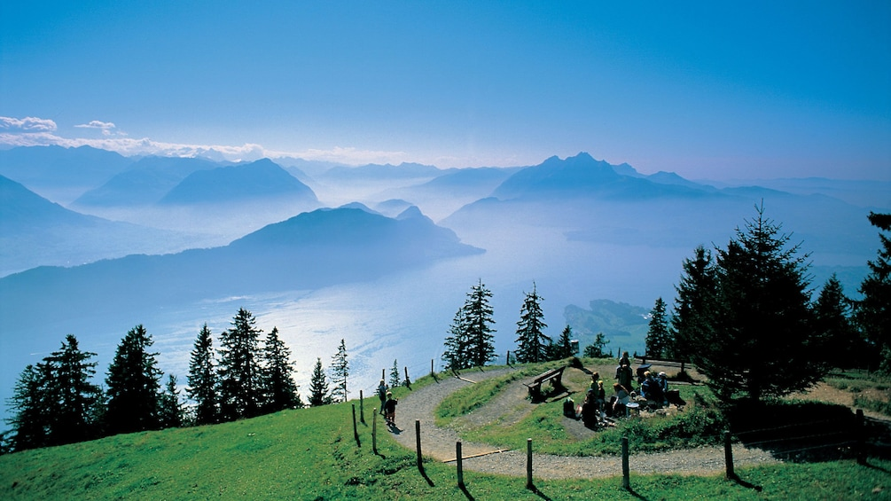 Show item 3 of 9. Foggy mountain view in Switzerland