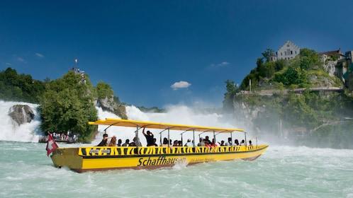 boat near waterfall in germany