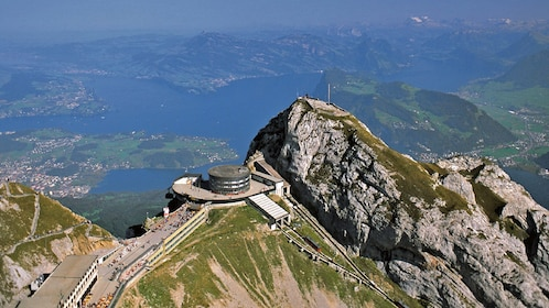 mountain top building with view