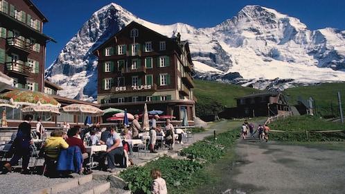 view of mountain city near zurich