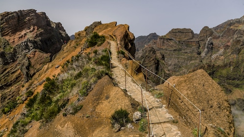 A path leading up a jagged rock face in Madeira