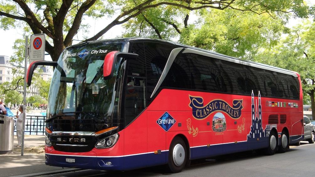 Gray Line coach bus parked in Zurich