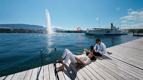 lounging on dock in Geneva