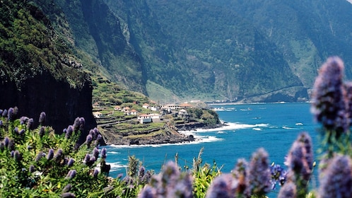 View of a coastal town in Madeira
