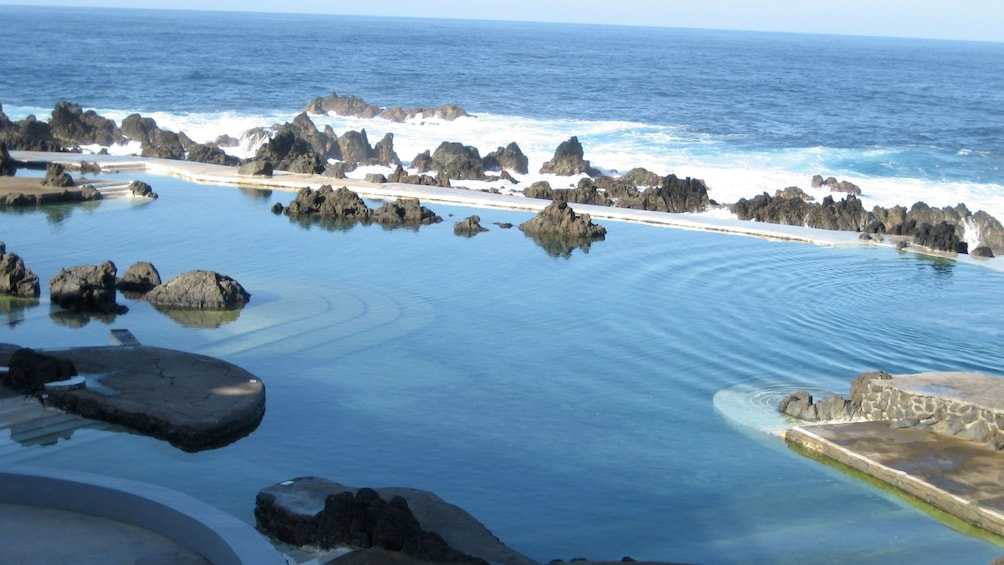 tide pools along a rocky shore in Madeira