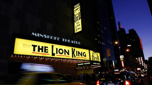 Marquee at night for The Lion King in New York