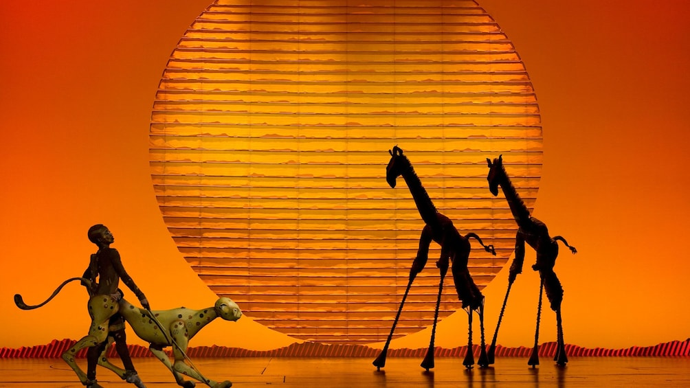 Animal puppets onstage in The Lion King in New York