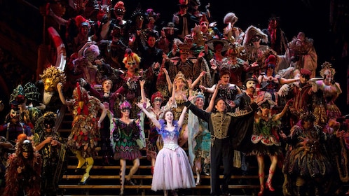 Large group of performers in The Phantom of the Opera on Broadway in New York