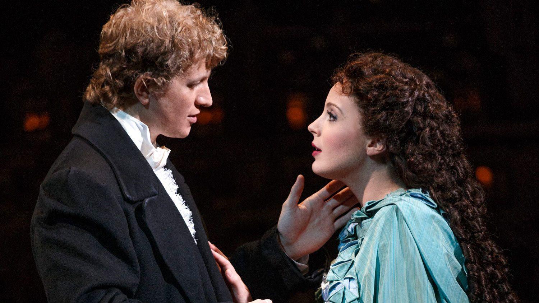 Romantic scene from The Phantom of the Opera on Broadway in New York