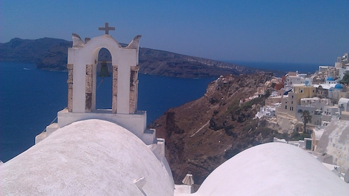 Bell tower of cathedral in Santorini