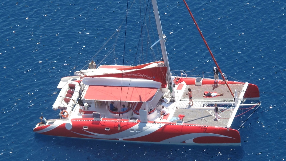 Aerial view of a boat on Santorini