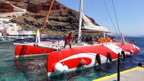 Catamaran sailboat in Santorini