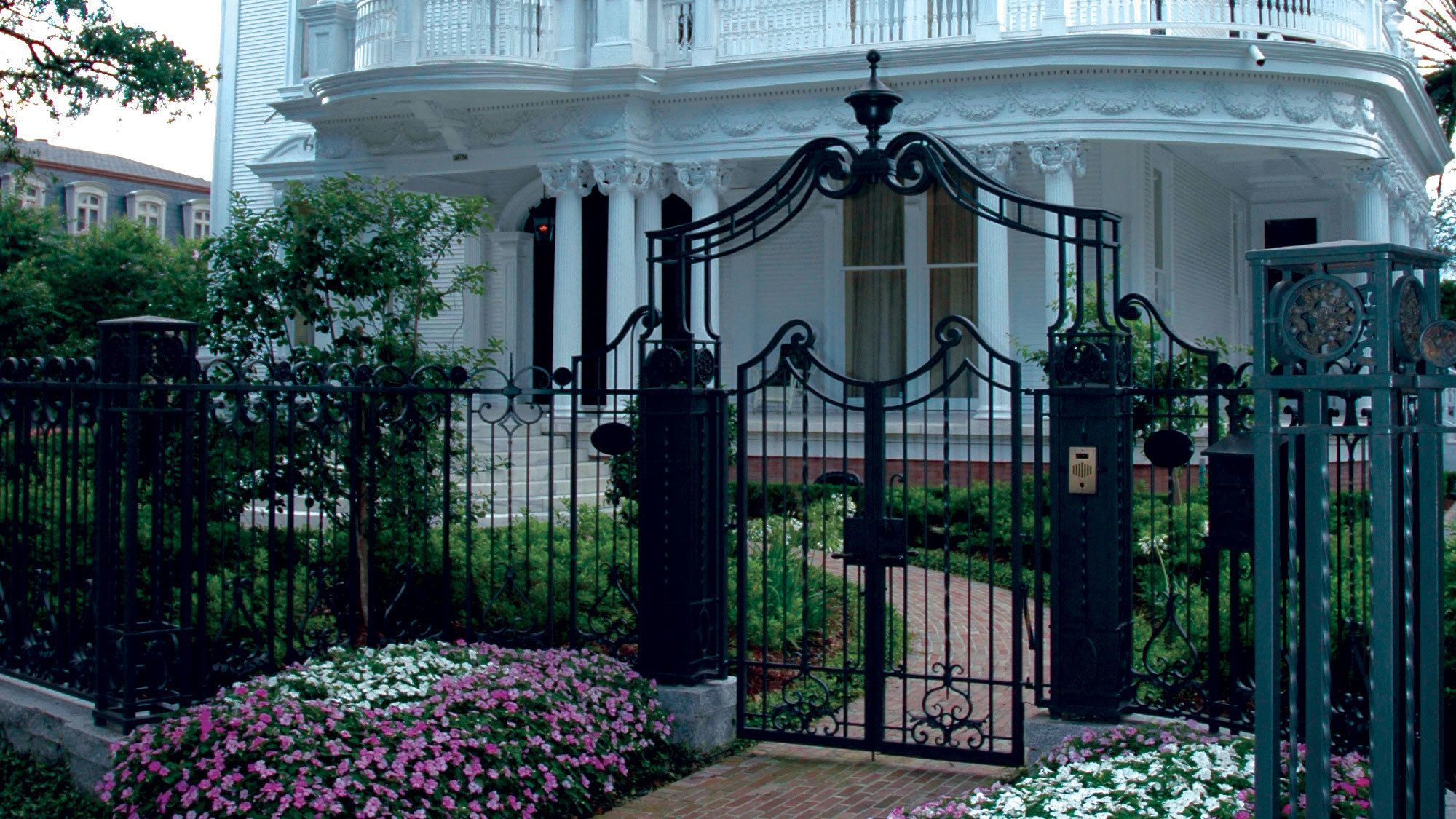 Mansion iron gate on St. Charles Avenue in New Orleans
