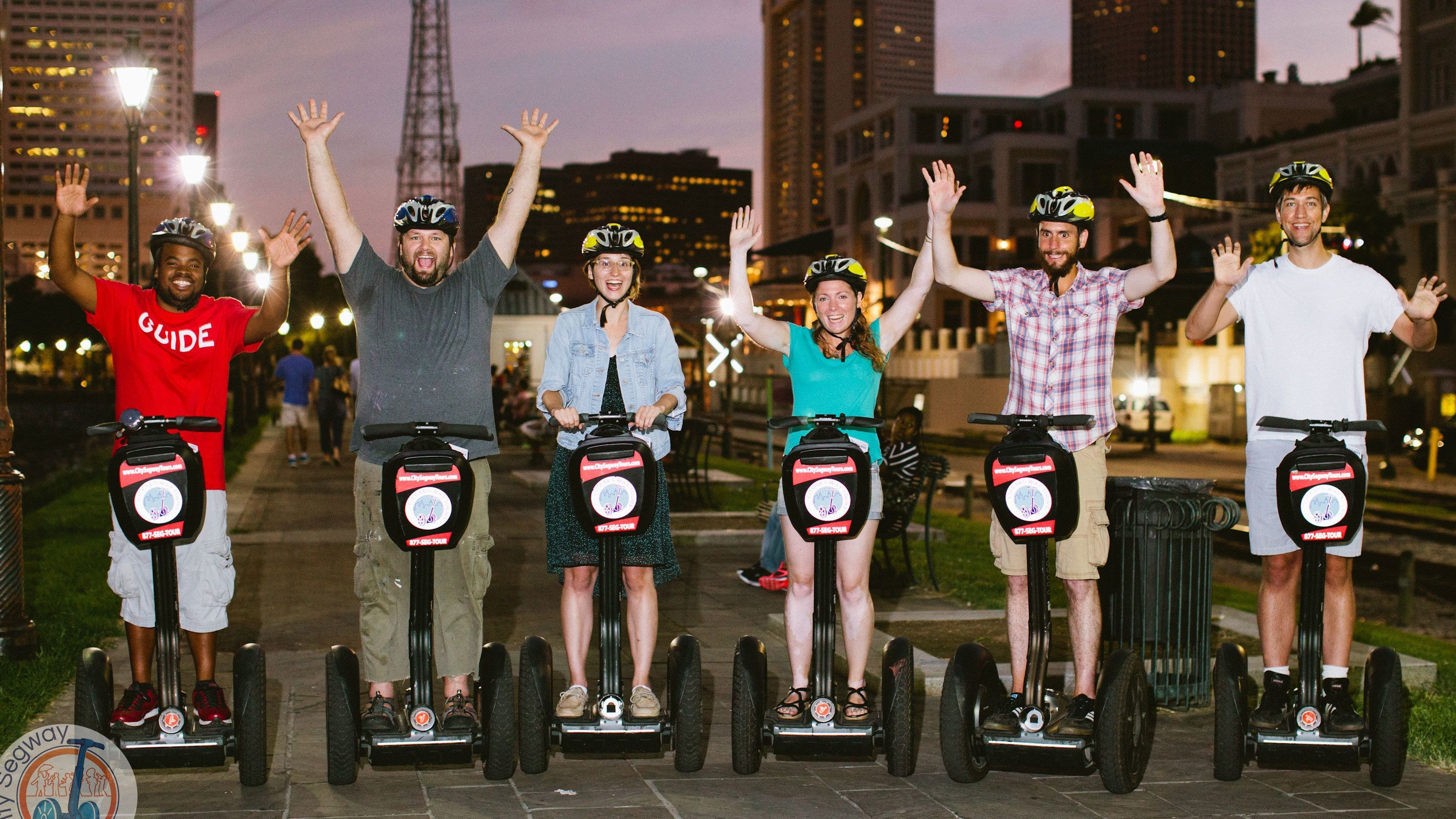 tour guide and five tourist tour New Orleans on segways