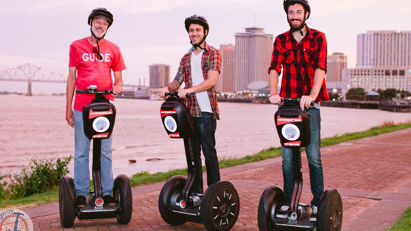 three tourist tour New Orleans on segways
