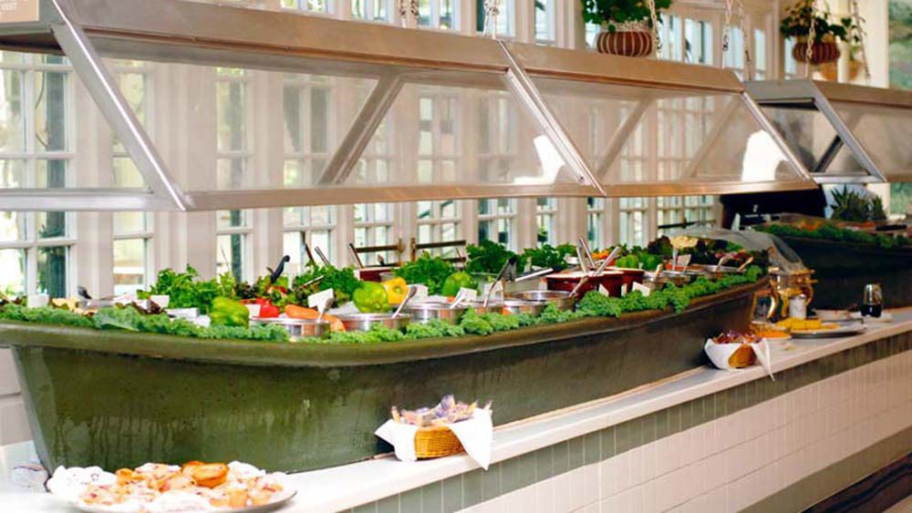 salad buffet spread at the Court of Two Sisters in New Orleans