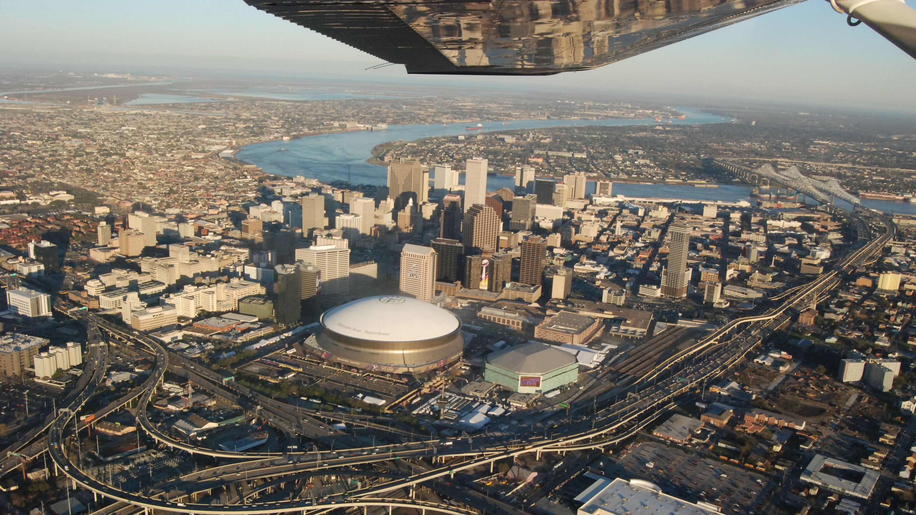 Ariel view of stadium above New Orleans