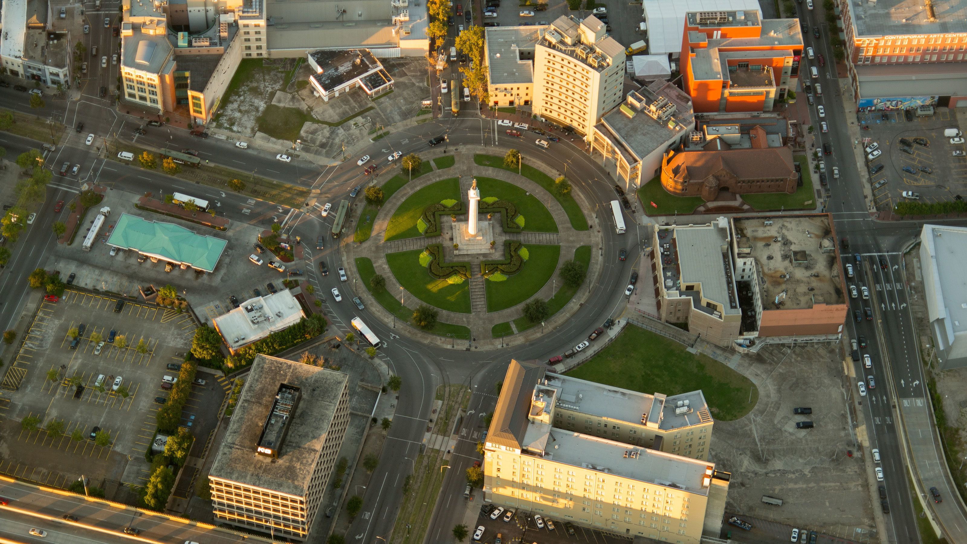 Ariel view of monument above New Orleans