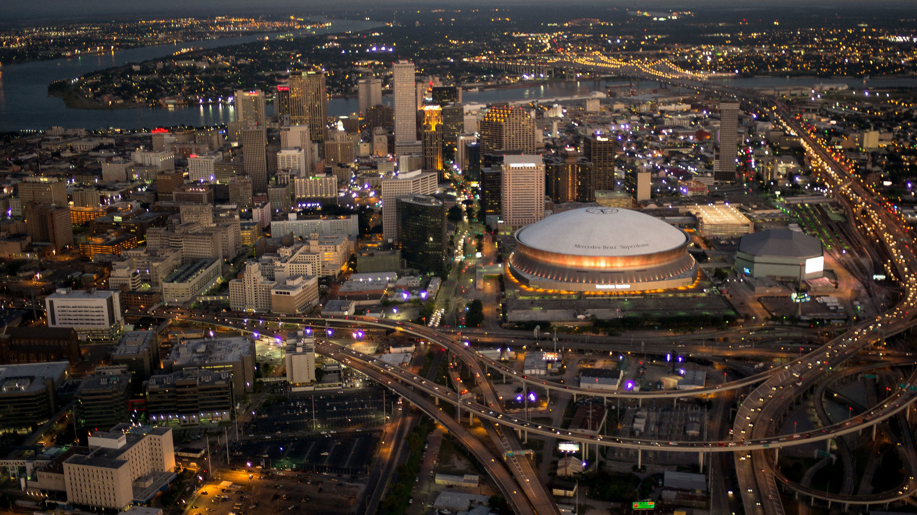 ariel view of super-dome and downtown in New Orleans
