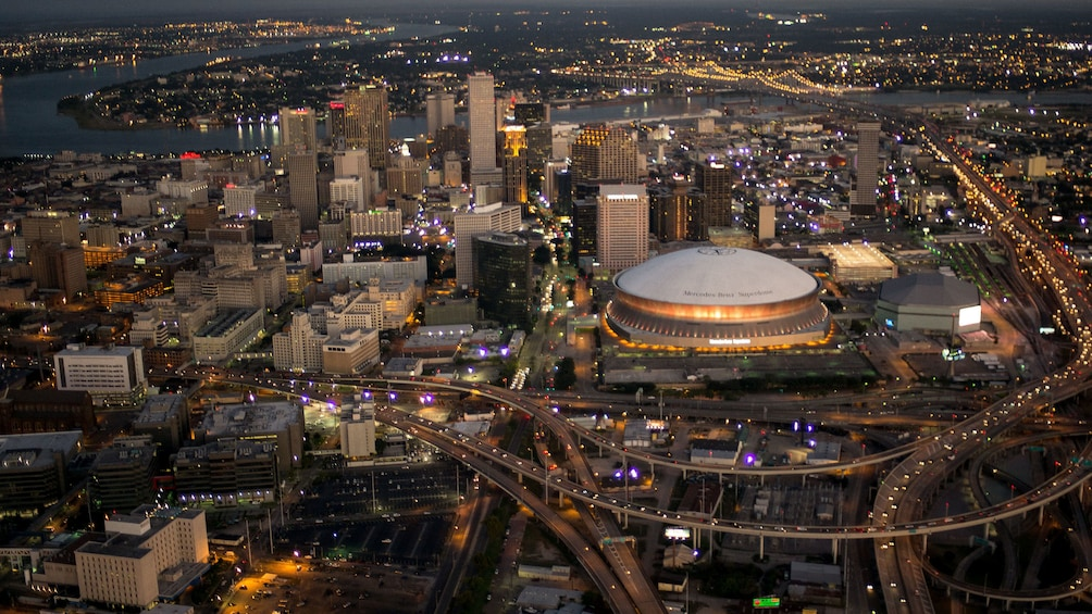 Show item 2 of 5. ariel view of super-dome and downtown in New Orleans